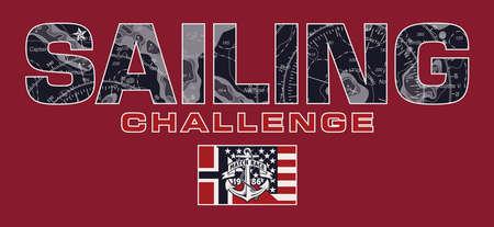 Sailing challenge match race vector print for boy man t shirt