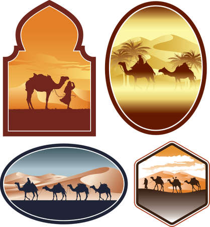 Bedouin with camel in a desert landscape vector silhouette labels collection