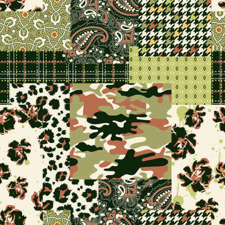 Camouflage tartan paisley floral fabric collage patchwork vector seamless pattern