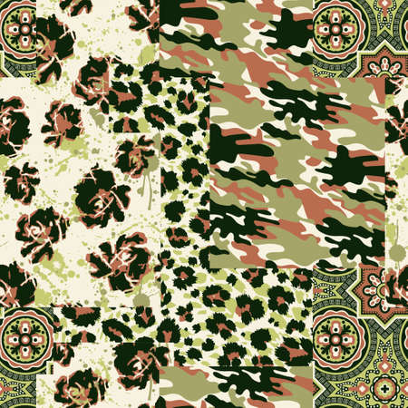 Camouflage tartan paisley leopard fabric collage patchwork vector seamless pattern