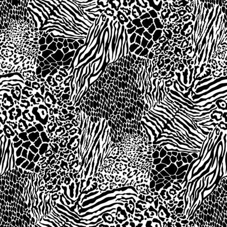 Wild animal skins patchwork wallpaper black and white fur abstract vector seamless pattern
