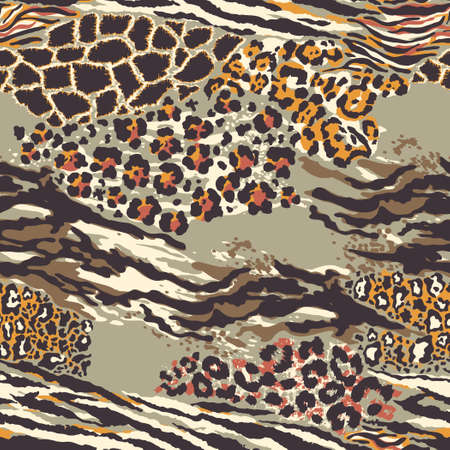 Wild animal skins patchwork wallpaper abstract vector fur seamless pattern