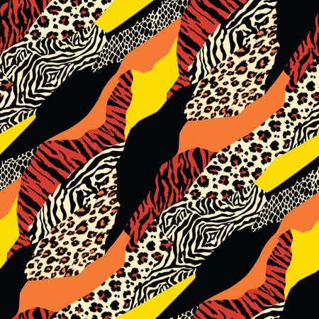 Colored Wild animal skins patchwork wallpaper abstract vector fur seamless pattern