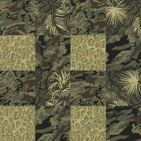 Mimetic camouflage with tropical leaves and leopard skin wallpaper vector abstract patchwork seamless pattern