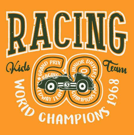Cute kid car racing team vector print for children wear Vector Illustration
