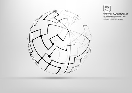 disorderly: Point and curve structure spherical wire frame, technical significance abstract illustration