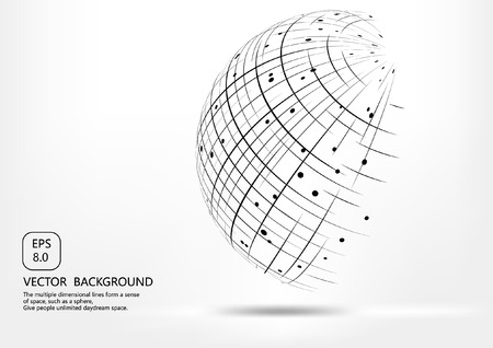 hypnotize: Points and curves spherical wireframes and technical abstract illustrations