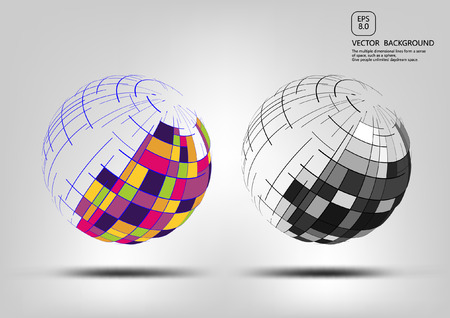 Points and curves spherical wireframes and technical abstract illustrations
