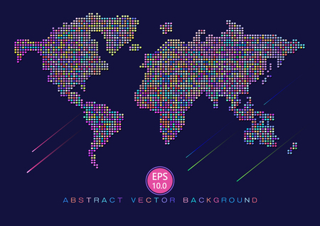 worldmap: Dots composed world-map abstract vector pixel background