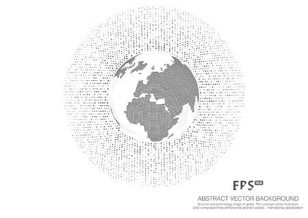 Immagine di scienza e tecnologia del globo, illustrazione, significato internazionale, punto della mappa del mondo