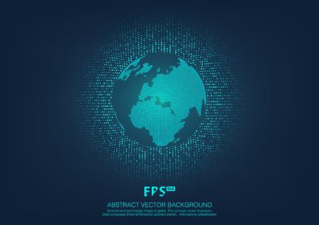 La scienza e la tecnologia di immagine del globo, illustrazione, significato internazionale, Planisfero punto Vettoriali