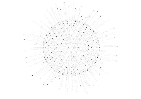 Vector polygon mesh planet radiating, lines and dots internationalization globalization 3D Ilustração