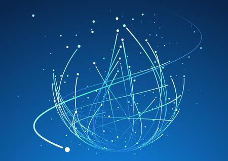 El punto y la curva construyeron el wireframe de la esfera, ejemplo abstracto del sentido tecnológico. Foto de archivo - 77892855