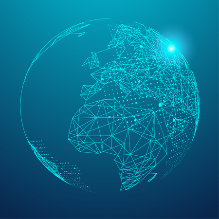 Point and line composing a world map on blue background
