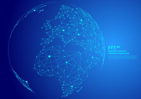 punt en lijn gecomponeerde wereldkaart, die de globale, wereldwijde netwerkverbinding, internationale betekenis vertegenwoordigt. Stock Illustratie