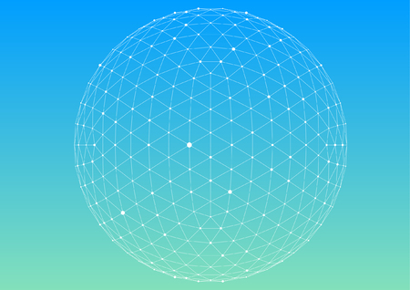 3D polygon mesh sphere, Science and technology background point line connection