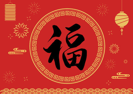 Fu calligraphy, happy Chinese new year, lantern background