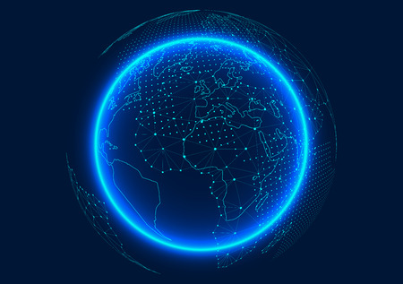 Point and line composed world map representing the global Global network connection