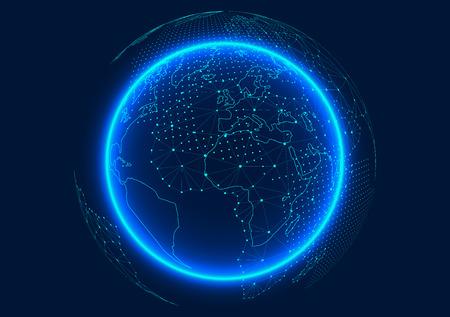 Punt en lijn gecomponeerde wereldkaart die de wereldwijde wereldwijde netwerkverbinding vertegenwoordigt