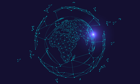 Polygonal connected technology internet big data background illustration, artificial intelligence
