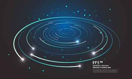 Lignes de tourbillon circulaire vortex abstraites. Star trails autour du ciel nocturne