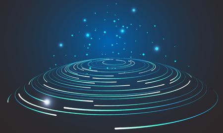 Abstract vortex circular swirl lines. Star trails around night sky.