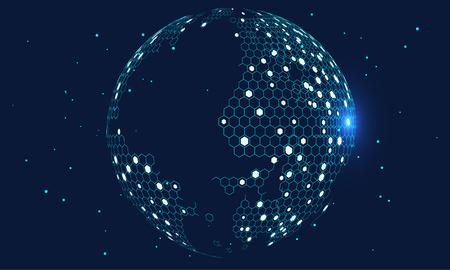 Globe à grille hexagonale représentant la haute technologie, l'informatique en nuage et les mégadonnées Internet