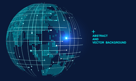3D abstract world map, internationalization and globalization