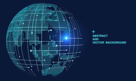 Mapa del mundo abstracto 3D, internacionalización y globalización