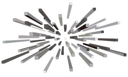 Abstract explosion of grey blocks.