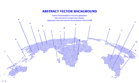 Abstract world map concept, artificial intelligence and internet big data, virtual technology Vektorové ilustrace