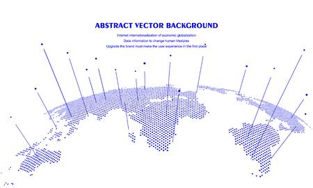 Concept abstrait de carte du monde, intelligence artificielle et données volumineuses sur Internet, technologie virtuelle Vecteurs