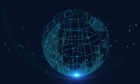 Intelligenza artificiale e background tecnologico futuro, connessione Internet, background scientifico e tecnologico