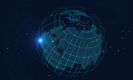 Intelligenza artificiale e background tecnologico futuro, connessione Internet, background scientifico e tecnologico Vettoriali