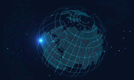 Künstliche Intelligenz und Zukunftstechnologiehintergrund, Internetverbindung, Wissenschafts- und Technologiehintergrund Vektorgrafik