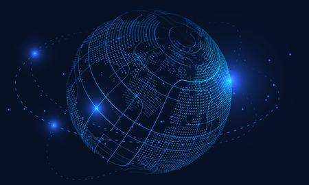 Concept abstrait terre, connexion internet, réalité virtuelle et fond scientifique et technologique, intelligence artificielle et cloud computing, big data