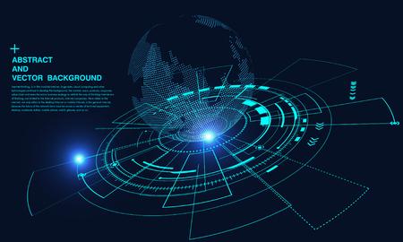 Concetto astratto terra, connessione internet, realtà virtuale e background scientifico e tecnologico, intelligenza artificiale e cloud computing, big data