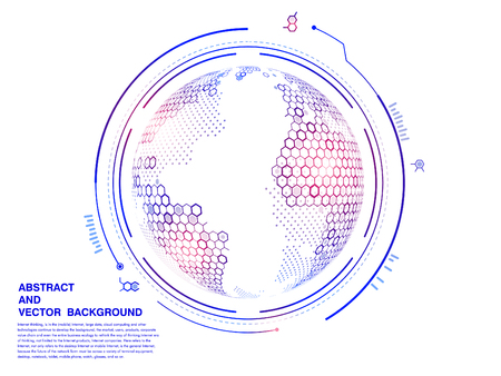 Virtual technology interface, hexagonal grid abstract vector globe  イラスト・ベクター素材