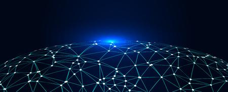Polygonales Netz bestehend aus Erde, abstrakter Konzept-Erdgrafik, bedeutet Internet Big Data, Cloud Computing