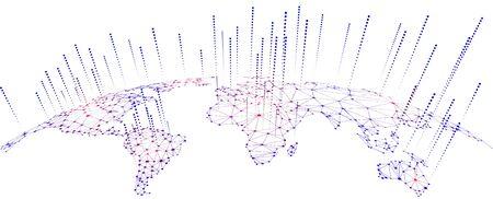 Conceptos de conectividad de red global e intercambio de datos Ilustración de vector