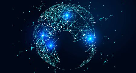 Mapa mundial compuesto por puntos y líneas, concepto de conexión de red global Ilustración de vector