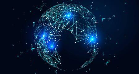 Mappa del mondo composta da punti e linee, concetto di connessione di rete globale Vettoriali