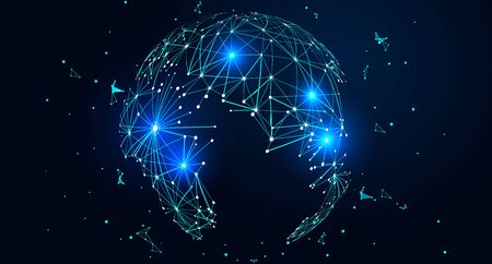 Point and line composed world map, global network connection concept Illustration