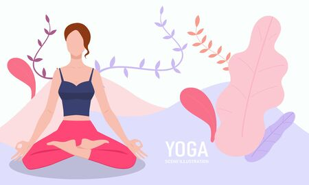 Female doing yoga exercise in front of floral background
