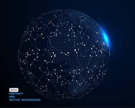 Abstract 3D globe illustration, internet and blockchain concept, significance of internationalization and globalization