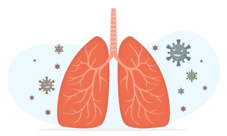 Virus or bacterial infects lungs, virus invades lungs