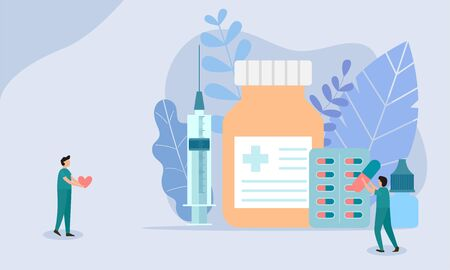 Doctor treating disease concept, meaning medical health, Concept for medical app and websites. Flat vector illustration.