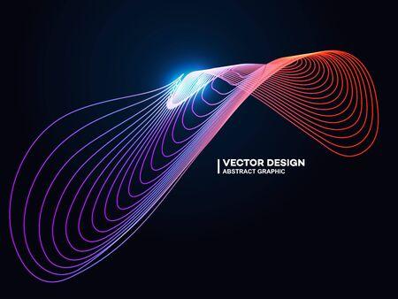 Abstract gradient wave lines, fashion poster background or cover, banner Ilustração
