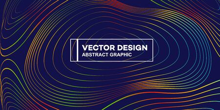 Stylish gradient lines vector background illustration, contour graphics, poster cover or flyer template