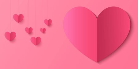 Love pattern on pink background, sweet love, valentine card or poster template, banner.